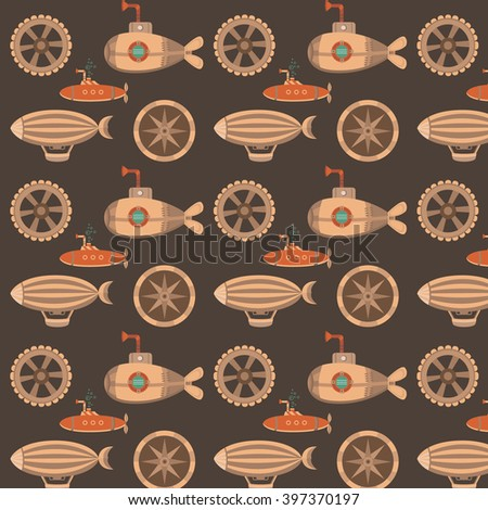 Seamless pattern in the style of steampunk. Background for cards, invites, web pages, banners, covers, wallpaper. Seamless vintage texture with a balloon, gears, submarine. Vintage background. - stock vector