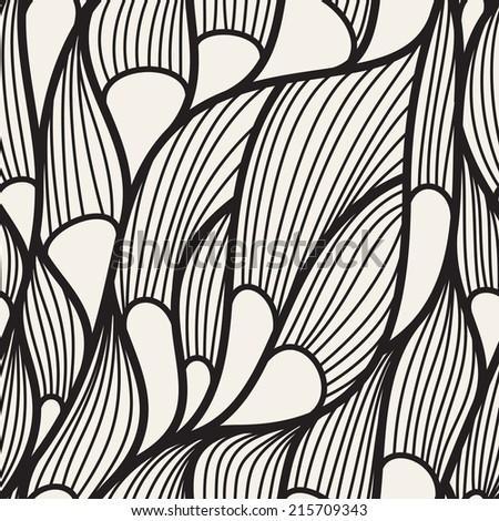Seamless pattern. Irregular hand drawn grid. Zentangle linear texture - stock vector