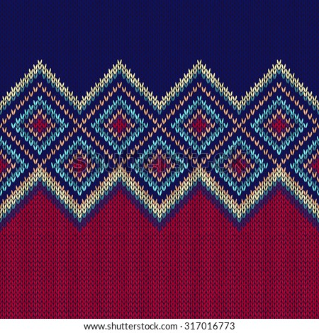 Seamless Pattern. Knit Woolen Trendy Ornament Texture. Fabric Color Tracery Background - stock vector