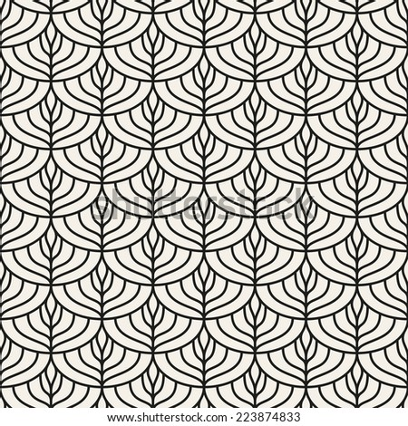 Seamless pattern. Linear scaled ornament. Geometric stylish background. Vector repeating texture - stock vector