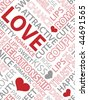 Seamless pattern made from words which relate with word love - stock vector
