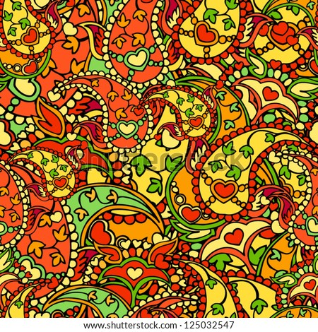 Seamless pattern made of paisley with leaves and hearts. - stock vector