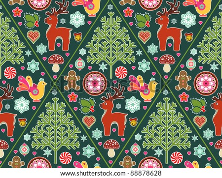 seamless pattern made up of Christmas icons and symbols - stock vector