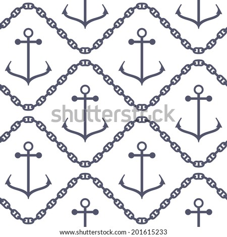 Seamless pattern. Marine texture with anchors and chains. Vector illustration - stock vector