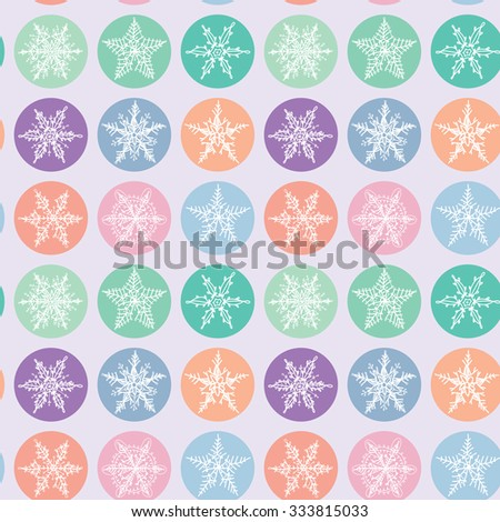Seamless pattern Merry Christmas Card, Snowflake winter set orange pink purple blue collection on polka dot lilac background. Vector - stock vector