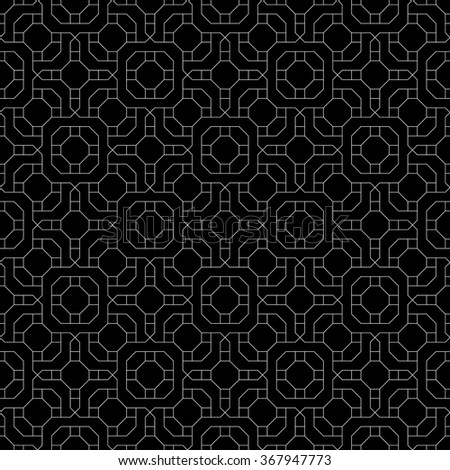 Seamless pattern. Monochrome polygonal linear texture. Repeating geometrical shapes, lines, squares, polygons, hexagons, rhombuses. Vector element of graphic design - stock vector
