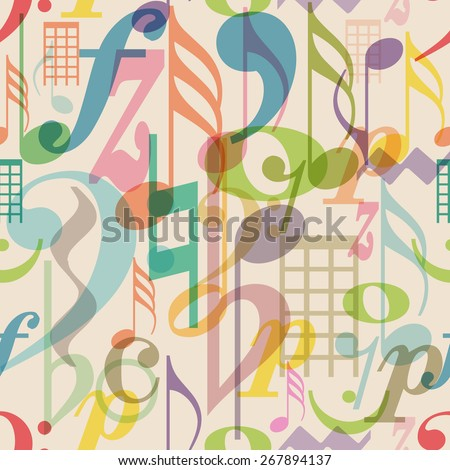 seamless pattern musical symbols, vector illustration - stock vector