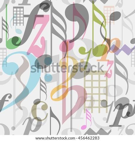 seamless pattern musical symbols, vector illustration  - stock vector