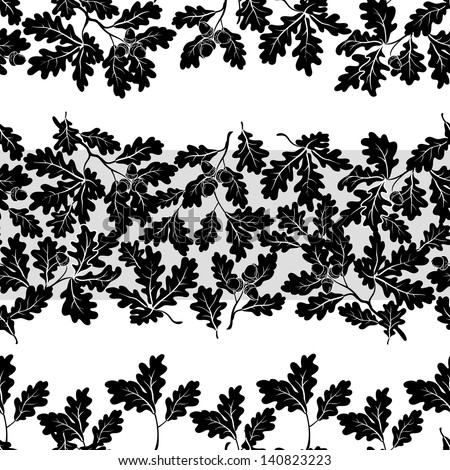 Seamless pattern, oak branches and acorns, black silhouettes on white background. Vector - stock vector