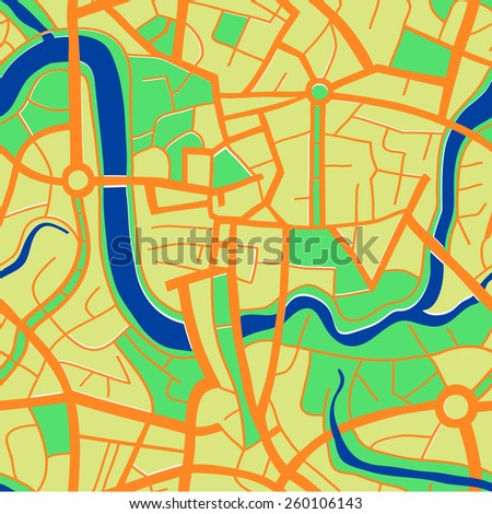 Seamless pattern of a city map. - stock vector