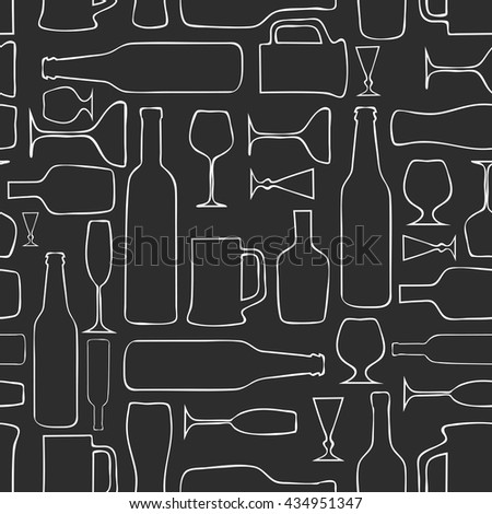 Seamless pattern of alcohol and utensils - stock vector