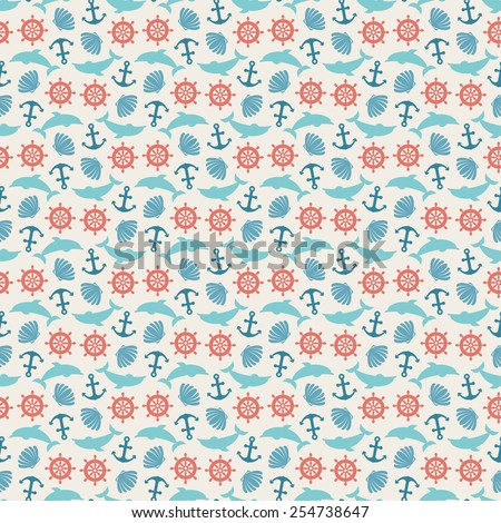 Seamless pattern of anchor, wheel, dolphin and seashell. Use to create quilting patches or seamless backgrounds for various craft projects. Marine symbol.  Sea leisure sport pattern. - stock vector