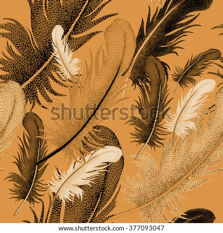 Seamless pattern of bird feathers. Decorative composition of bird feathers on a gold background. Design of natural motifs. Illustration of vector ornament bird feathers. - stock vector