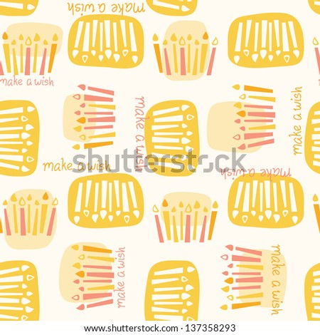 "Seamless pattern of birthday candles with the phrase ""make a wish."" Colors can be easily changed in vector file. - stock vector"