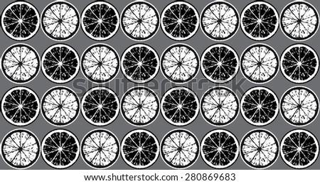 Seamless pattern of black and white lemon slices. - stock vector