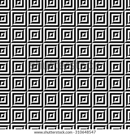 Seamless pattern of black and white prominent squares, twisted into a spiral. - stock vector