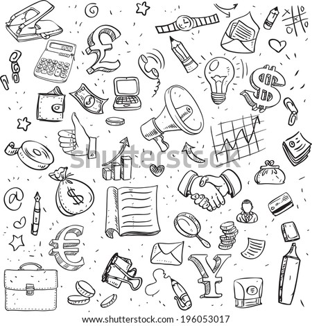 Seamless pattern of black doodles on business theme - stock vector