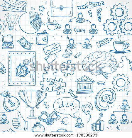 Seamless pattern of blue doodles on business and money theme - stock vector