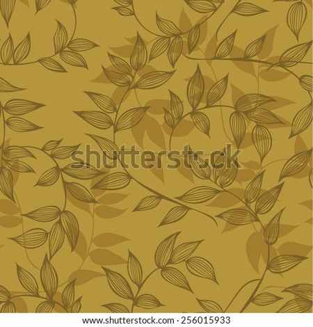 Seamless pattern of branches with leaves, hand-drawing. Vector illustration. - stock vector