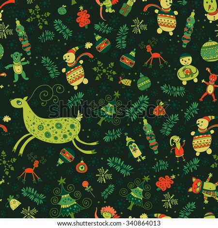 Seamless pattern of bright Christmas items. Deer, fir tree, Christmas ornaments. For a festive package - stock vector