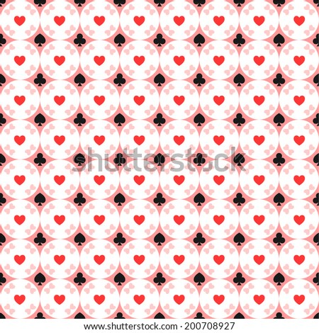 Seamless pattern of card suits, hearts, spades, diamonds, clubs  - stock vector