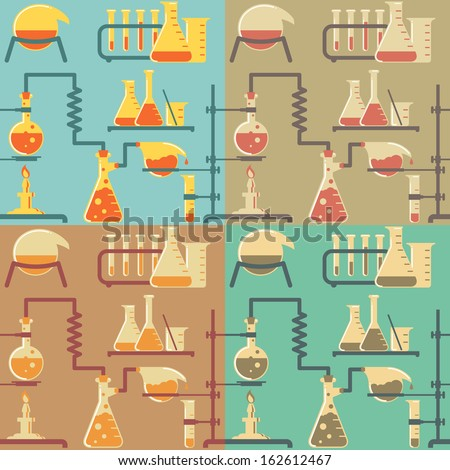 Seamless pattern of chemical reactions in four retro color variations.  - stock vector