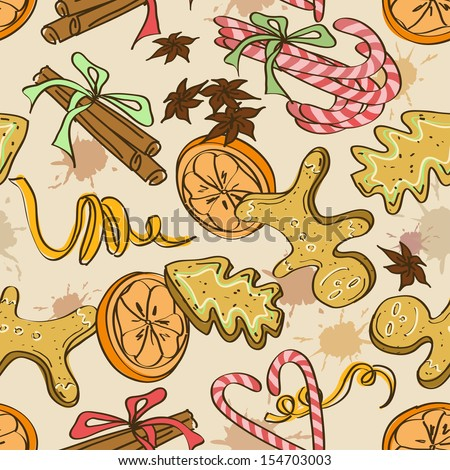 Seamless pattern of christmas cookies, sweets, orange and spices - stock vector
