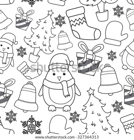 Seamless Pattern Of Christmas Icons Or Elements With Outline - stock vector