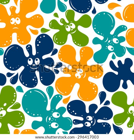 seamless pattern of color blots with smile face isolated on White background. - stock vector