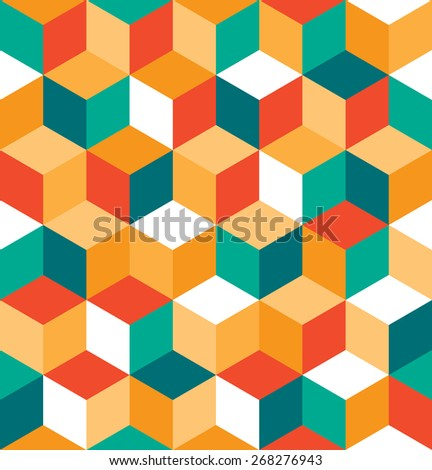 Seamless pattern of colored cubes. Endless multicolored cubic background. Cube pattern. Cube vector. Cube background. Abstract seamless background with cube decoration.  - stock vector