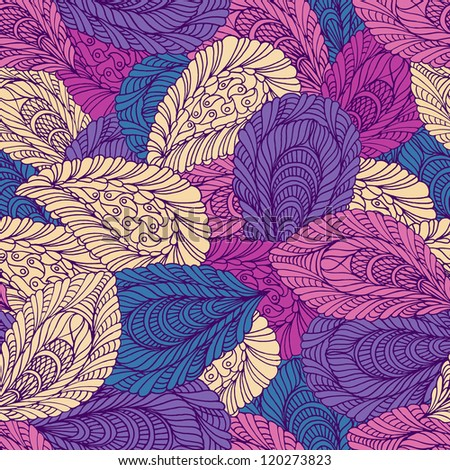 Seamless pattern of colored leaves - stock vector