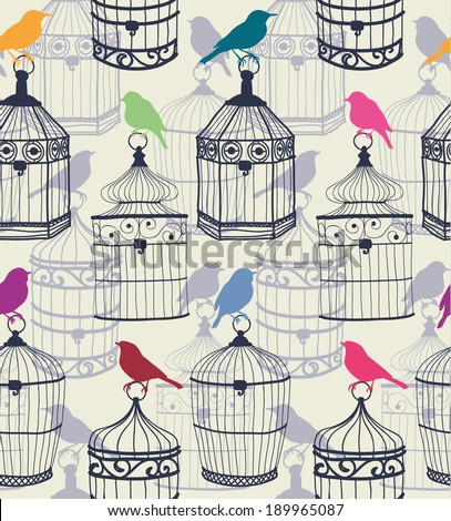 Seamless pattern of colored silhouettes of birds and beautiful figured birdcage  Vector illustration eps10 - stock vector