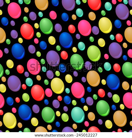 Seamless pattern of colorful drops on black background - stock vector