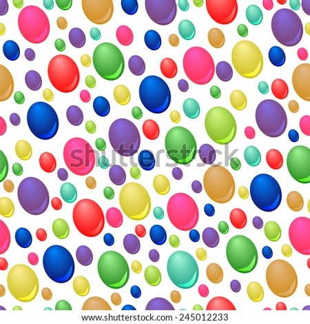 Seamless pattern of colorful drops on white background - stock vector
