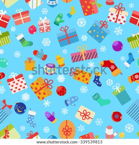 Seamless pattern of colorful gift boxes, socks, mittens and Christmas balls - stock vector