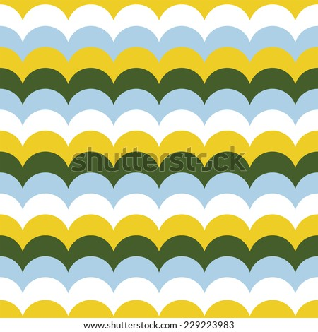 Seamless pattern of colorful stylized waves. Used pieces of different colors. Arranged with a certain rhythm. - stock vector