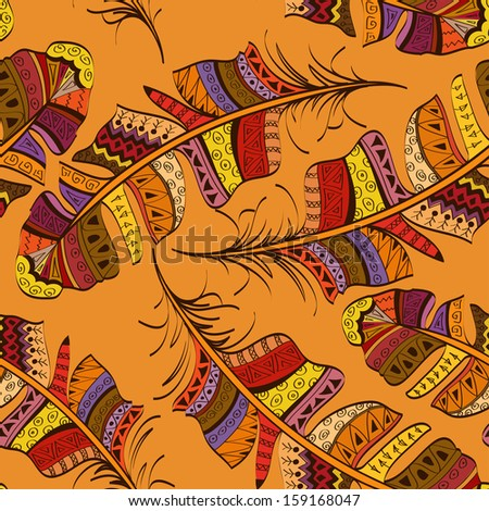 Seamless pattern of colorful tribal ornate bird feathers on orange background - stock vector