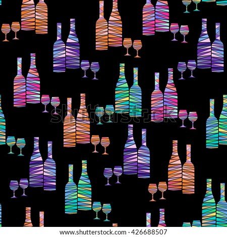 Seamless pattern of colorful wine bottles and stemware on black background. Wine bottles and wineglasses in mosaic geometric style. Creative vector art for menus, wrapping, interior design, etc. - stock vector