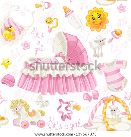 Seamless pattern of cribs, toys and stuff it's a girl - stock vector