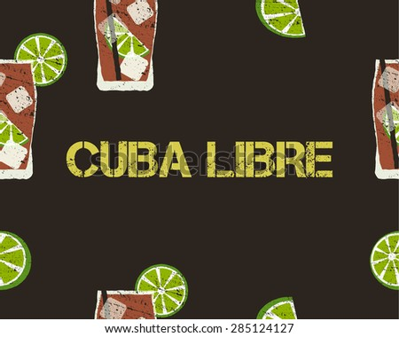 Seamless Pattern of Cuba Libre cocktail with lime and sign. Dark background. Vector illustration. - stock vector