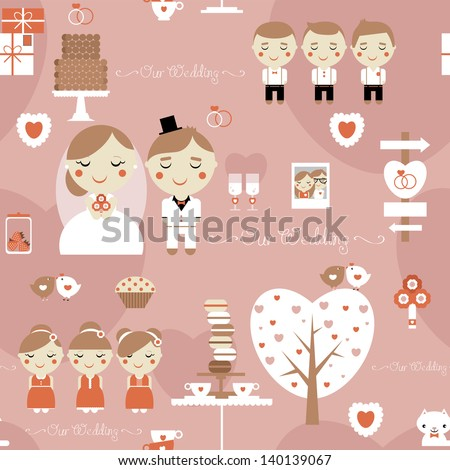 Seamless pattern of cute wedding - stock vector