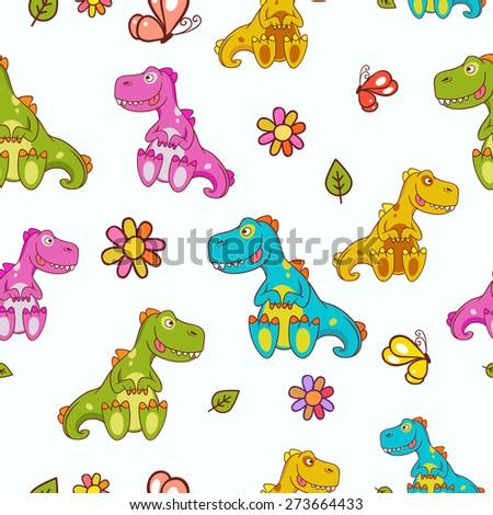 Seamless pattern of different colored dinosaurs, decorated with the flowers, butterfly and leaves located on a white background. Hand drawn vector illustration. Ideal for children's issues  - stock vector