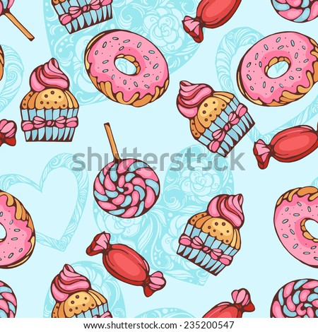 seamless pattern of donuts, candies and lolly pops with hearts background - stock vector