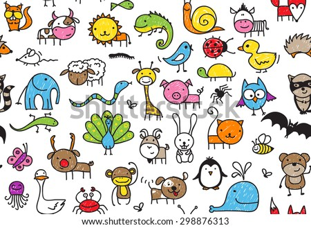 Seamless pattern of doodle animals, children's drawing style - stock vector