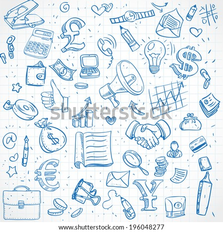 Seamless pattern of doodles on business theme - stock vector
