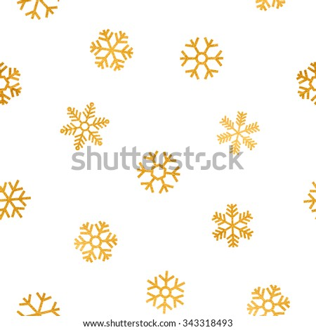 Seamless pattern of falling golden snowflakes on white background. Elegant pattern for Christmas or New year background, festive banner, card, invitation, postcard. Vector illustration. - stock vector