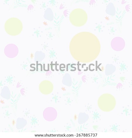 Seamless pattern of floral motif, ellipses, bouquets,circles. Hand drawn. - stock vector