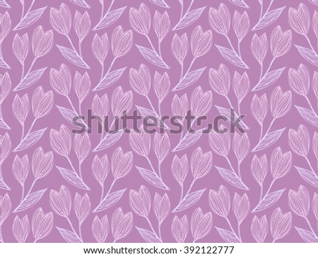 Seamless pattern of freehand drawing and hatched snowdrops on a lilac. Vector Eps10.  - stock vector