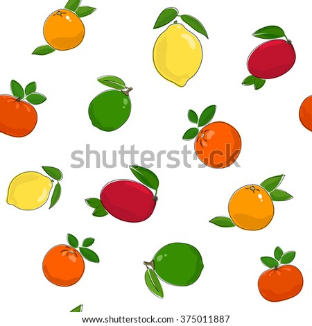 Seamless Pattern of Fresh Sweet Ripe Fruits, Fruit Pattern,Citrus Pattern,Tropic Pattern, Vector Illustration - stock vector