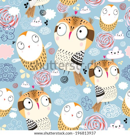 seamless pattern of funny graphic owls on a blue background with clouds   - stock vector